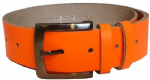 "38mmBucklebox Fluorescent Orange Leather Belt with Detachable Buckle 1½"" wide"